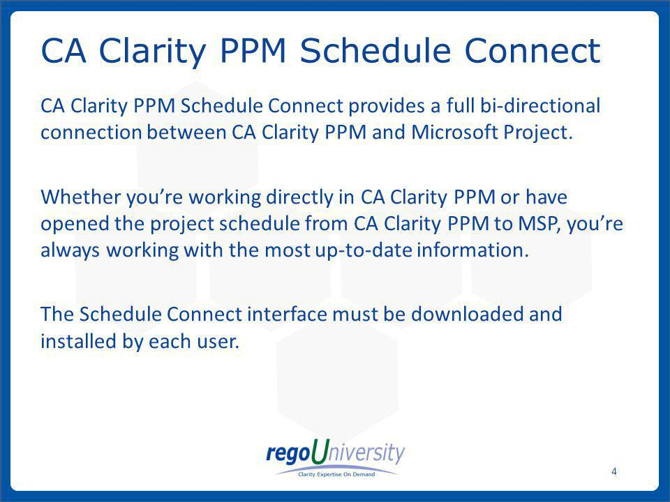 CA Clarity PPM Schedule Connect