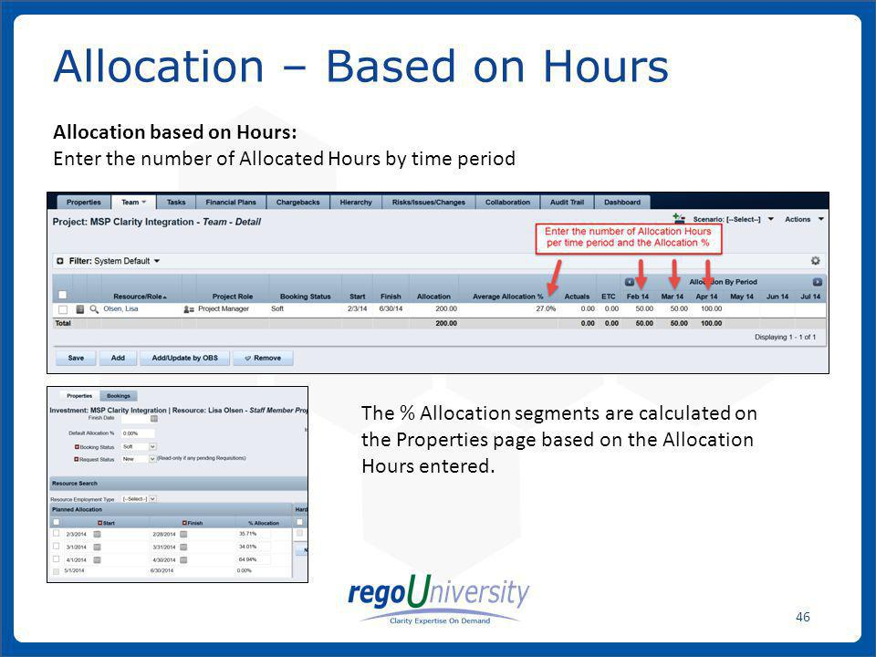 Allocation – Based on Hours