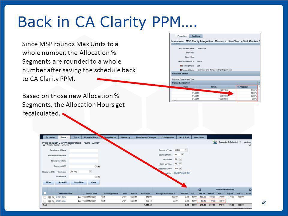 Back in CA Clarity PPM….