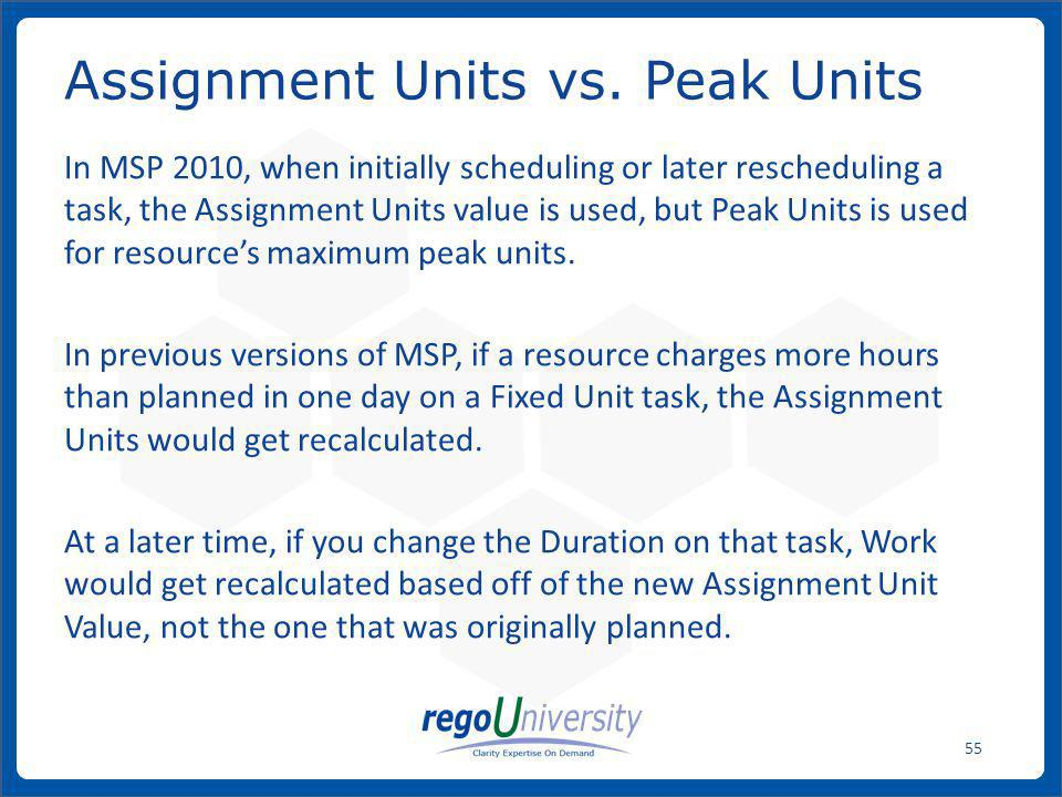 Assignment Units vs. Peak Units