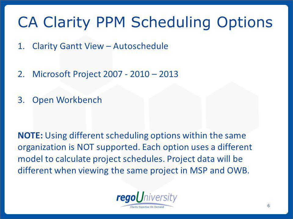 CA Clarity PPM Scheduling Options