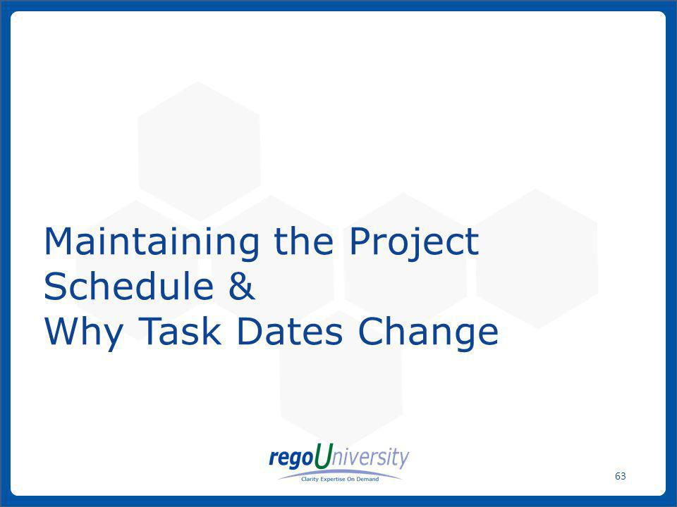 Maintaining the Project Schedule & Why Task Dates Change