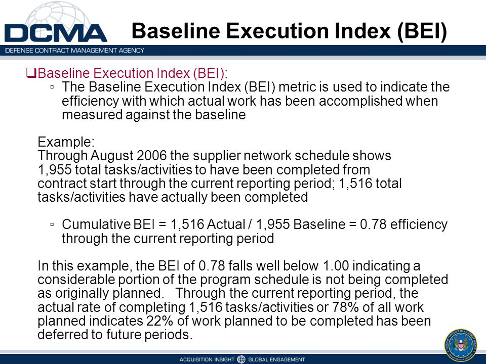 Baseline Execution Index (BEI)