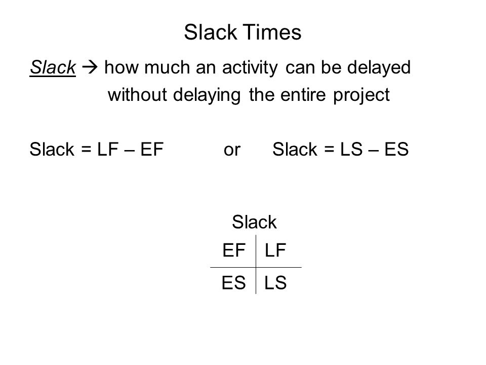 Slack Times Slack  how much an activity can be delayed