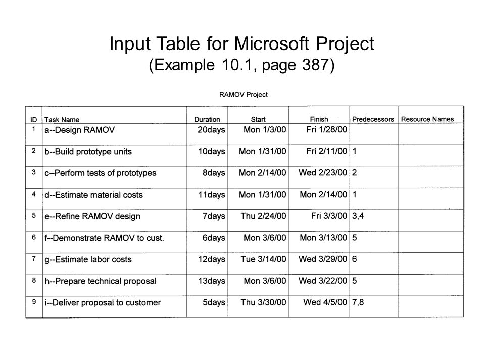 Input Table for Microsoft Project