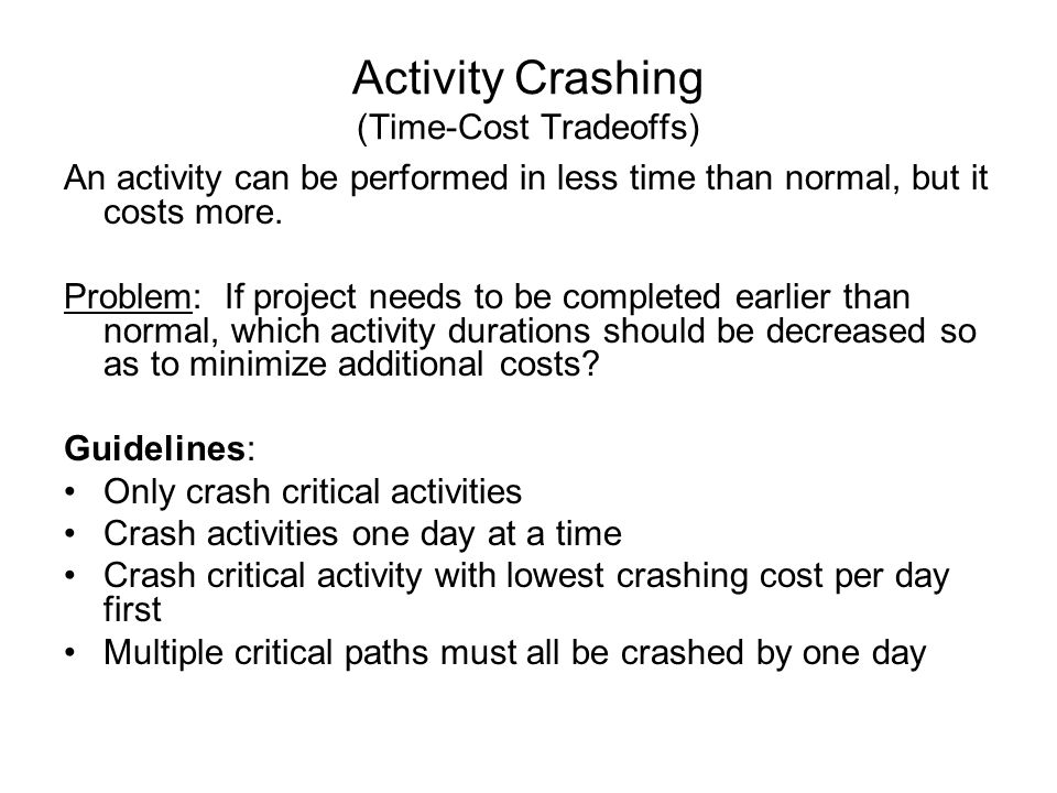 Activity Crashing (Time-Cost Tradeoffs)