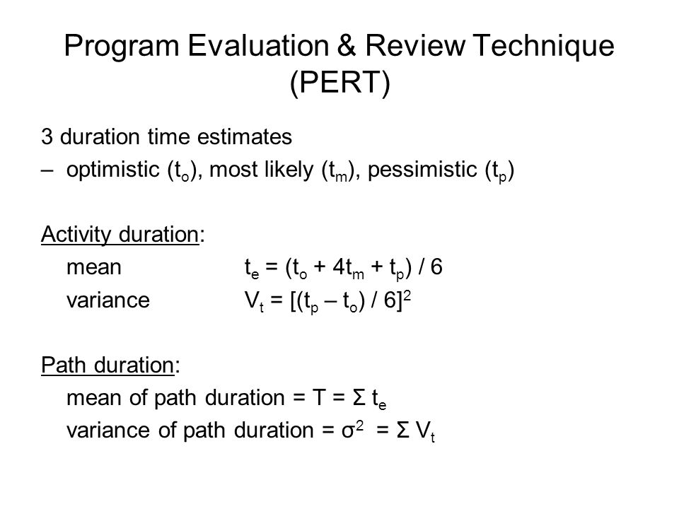 Program Evaluation & Review Technique (PERT)