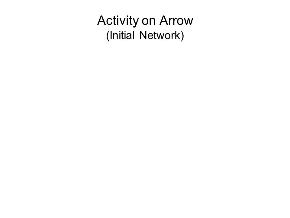 Activity on Arrow (Initial Network)