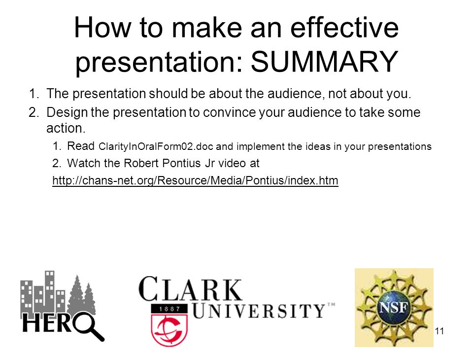 How to make an effective presentation: SUMMARY