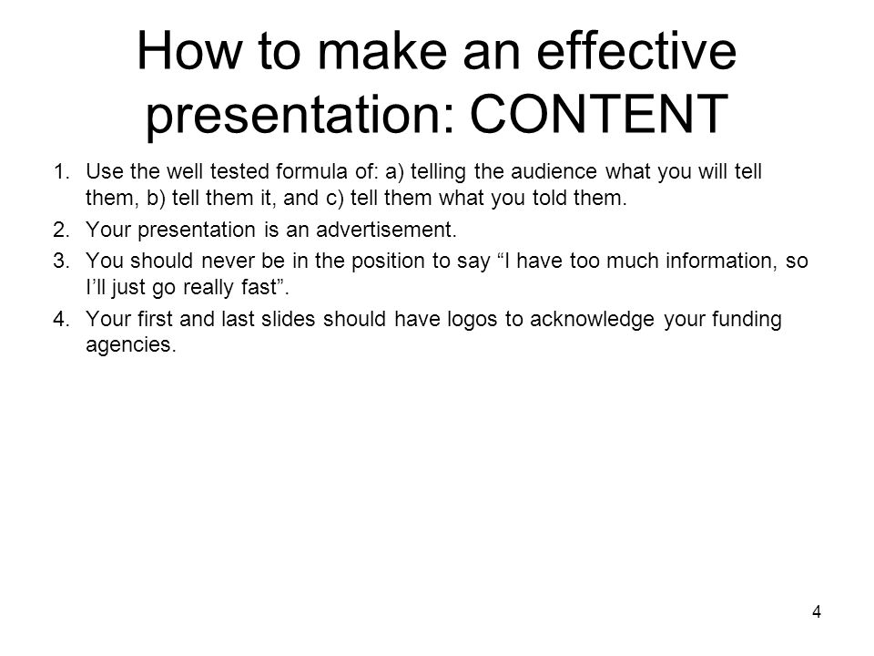 How to make an effective presentation: CONTENT