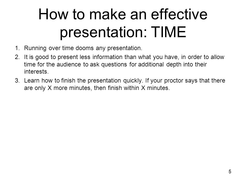 How to make an effective presentation: TIME