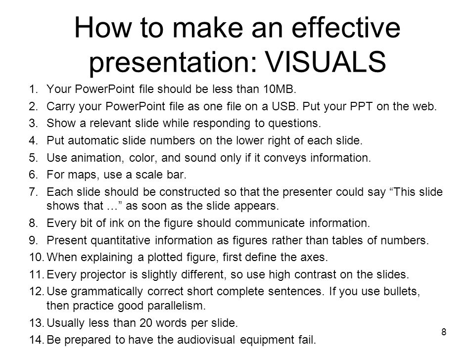 How to make an effective presentation: VISUALS