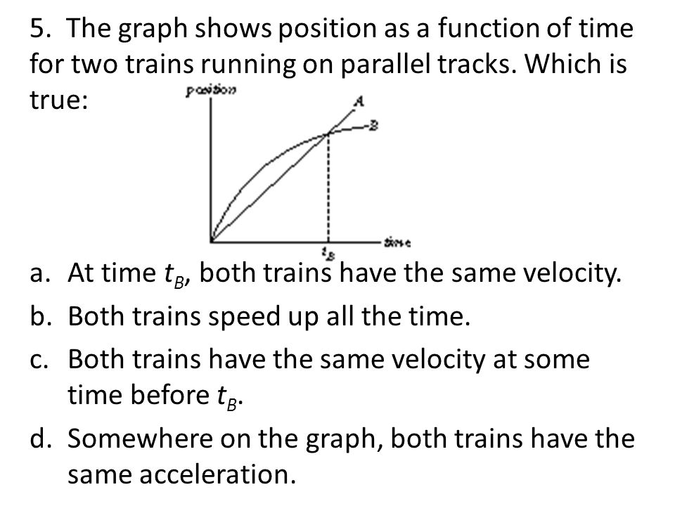 5. The graph shows position as a function of time for two trains running on parallel tracks. Which is true: