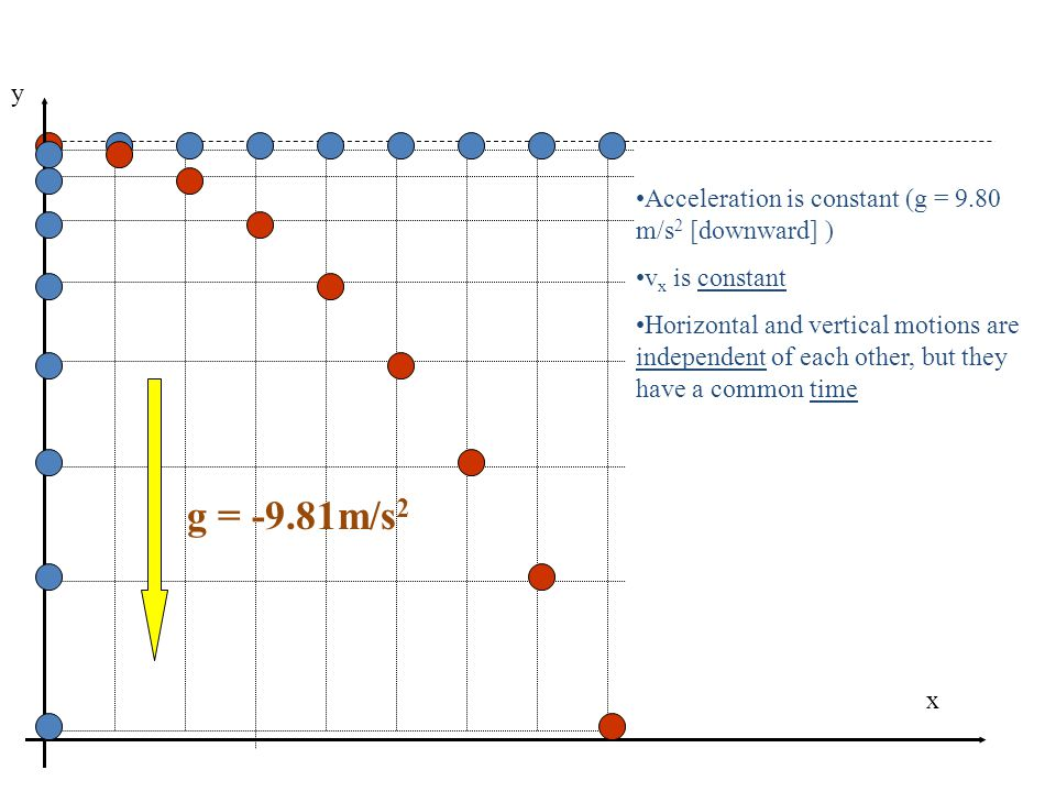 g = -9.81m/s2 y Acceleration is constant (g = 9.80 m/s2 [downward] )