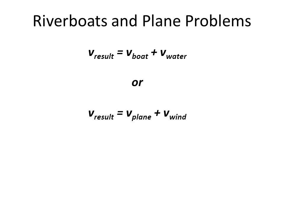 vresult = vboat + vwater vresult = vplane + vwind