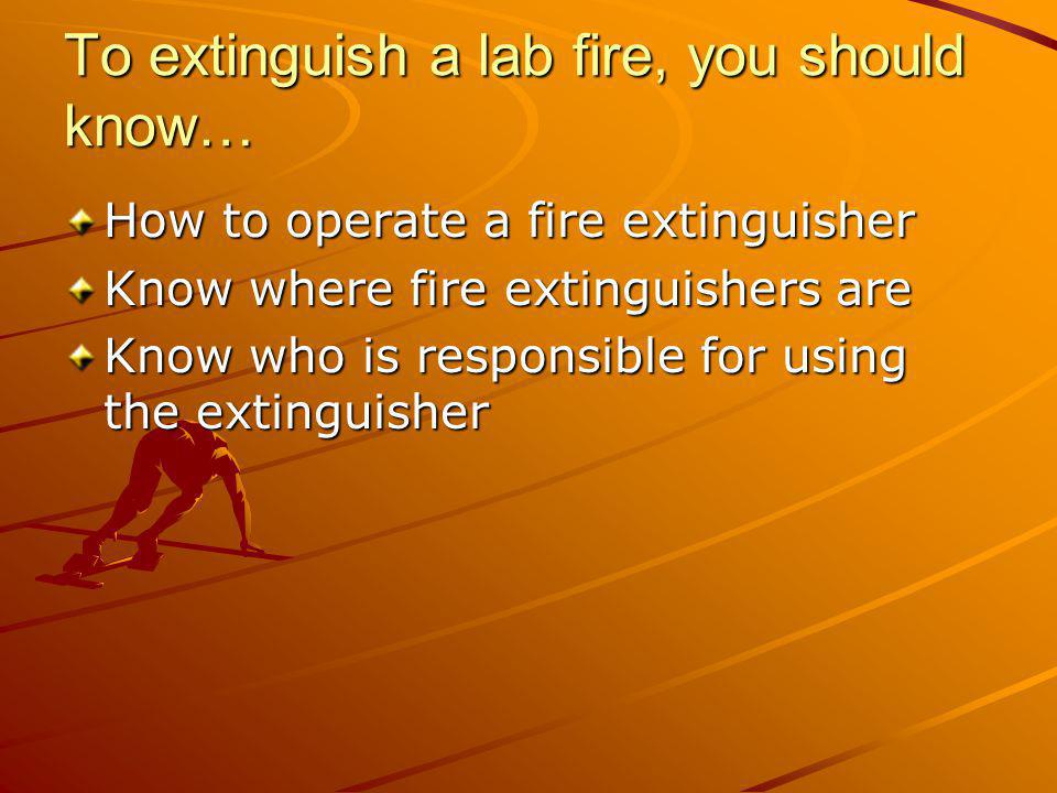 To extinguish a lab fire, you should know…