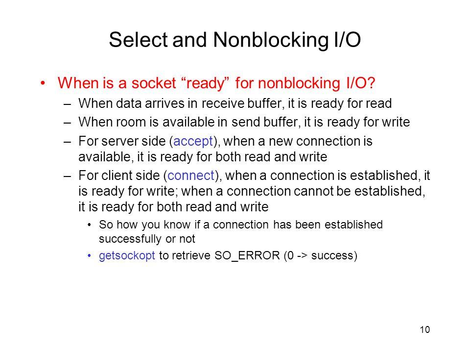 Select and Nonblocking I/O