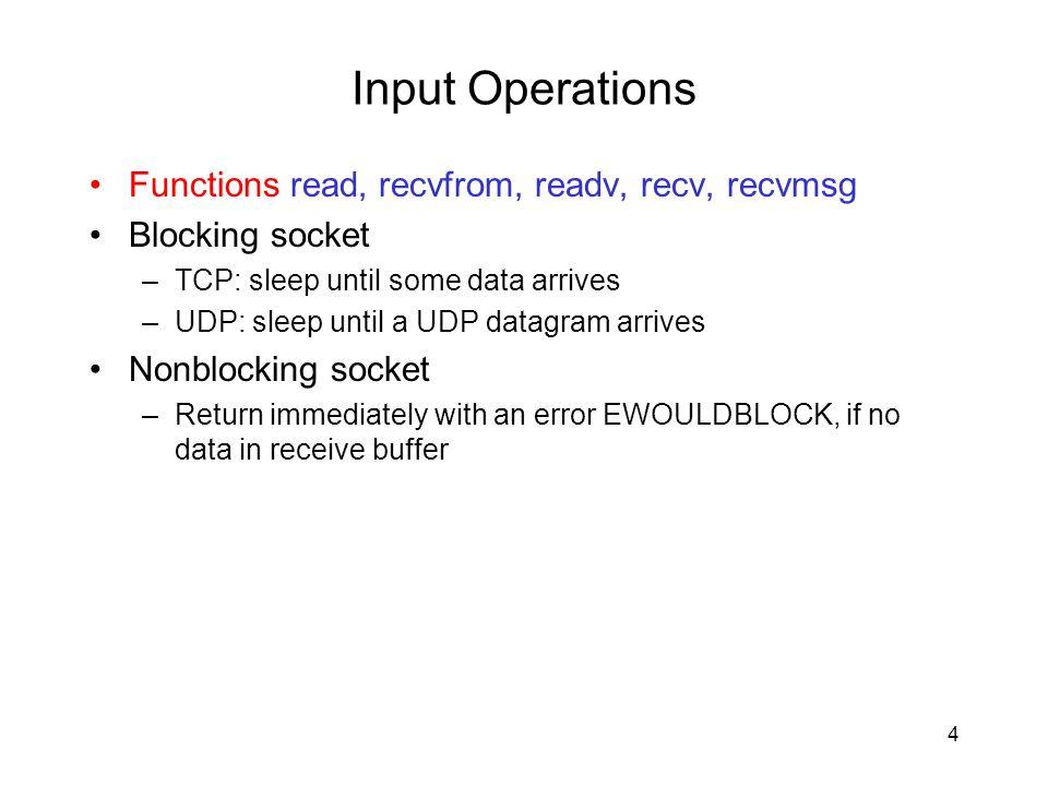 Input Operations Functions read, recvfrom, readv, recv, recvmsg