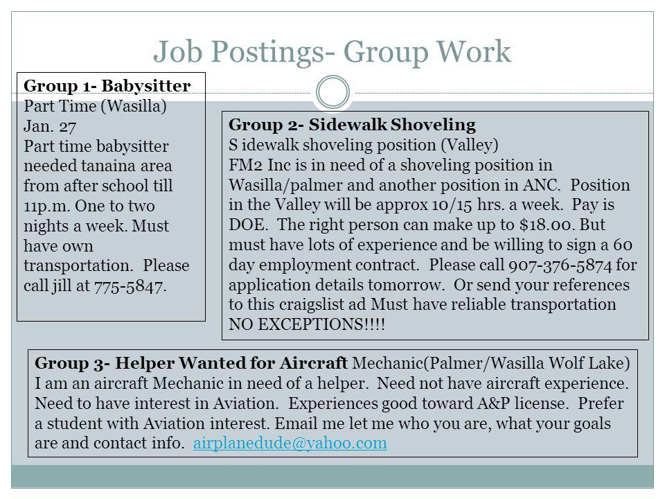 Job Postings- Group Work