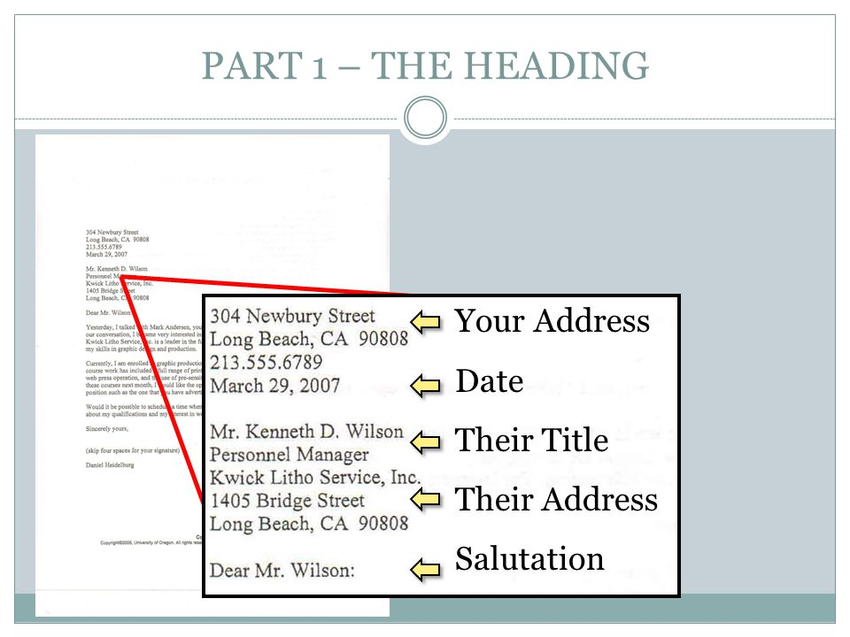 PART 1 – THE HEADING Your Address Date Their Title Their Address
