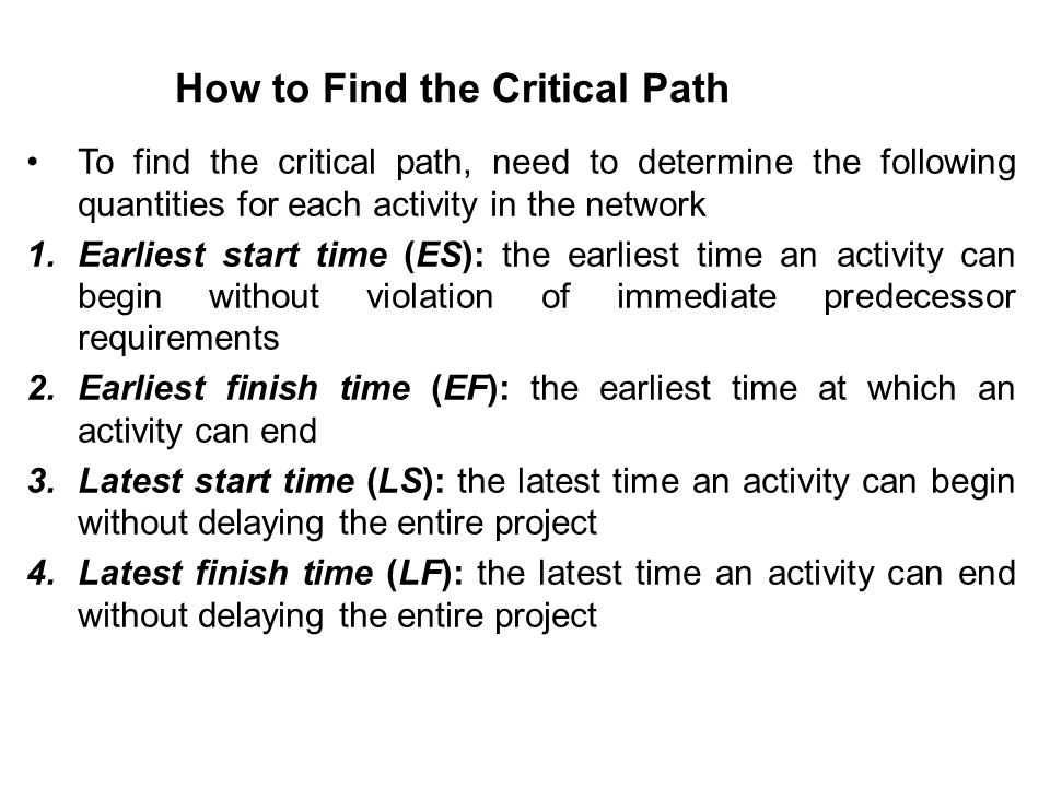How to Find the Critical Path