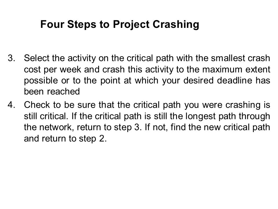 Four Steps to Project Crashing