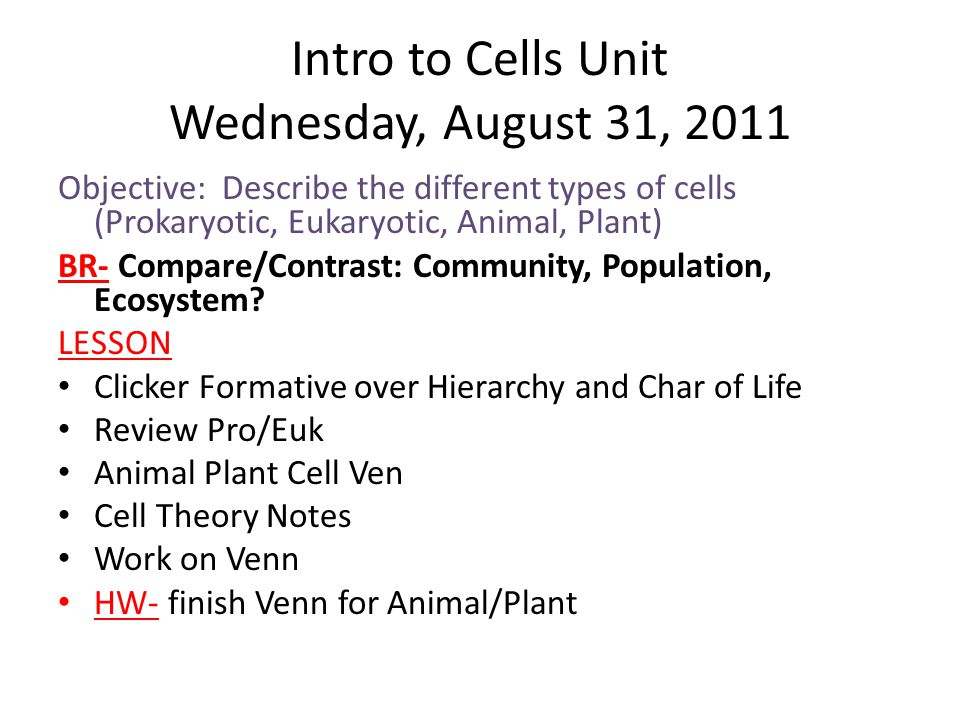 Intro to Cells Unit Wednesday, August 31, 2011