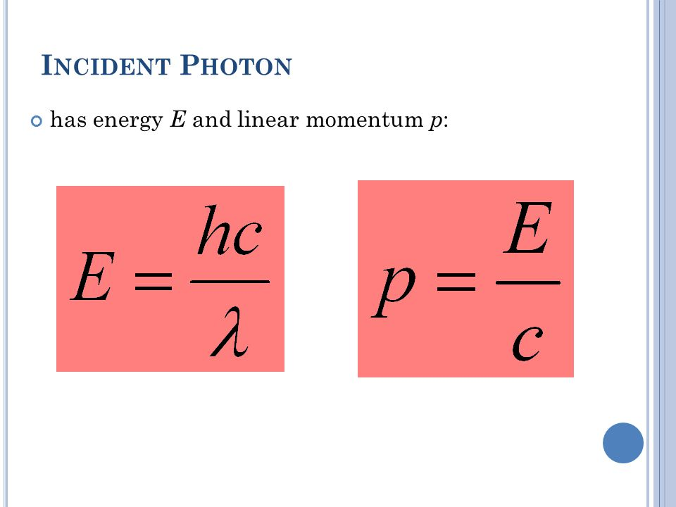 Incident Photon has energy E and linear momentum p: