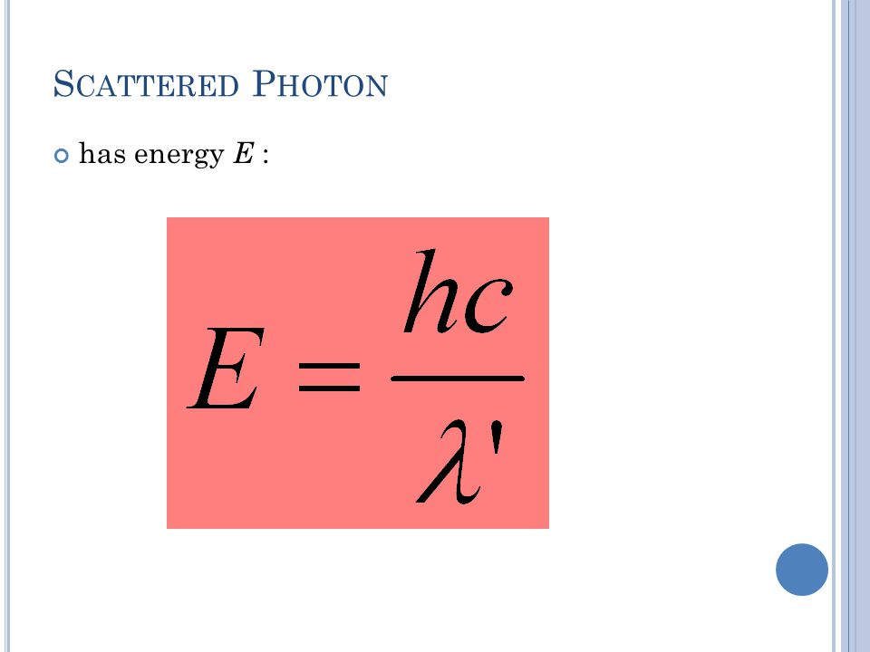 Scattered Photon has energy E :