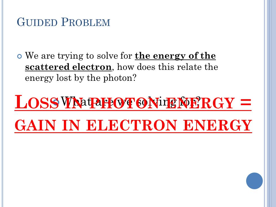 Loss in photon energy = gain in electron energy