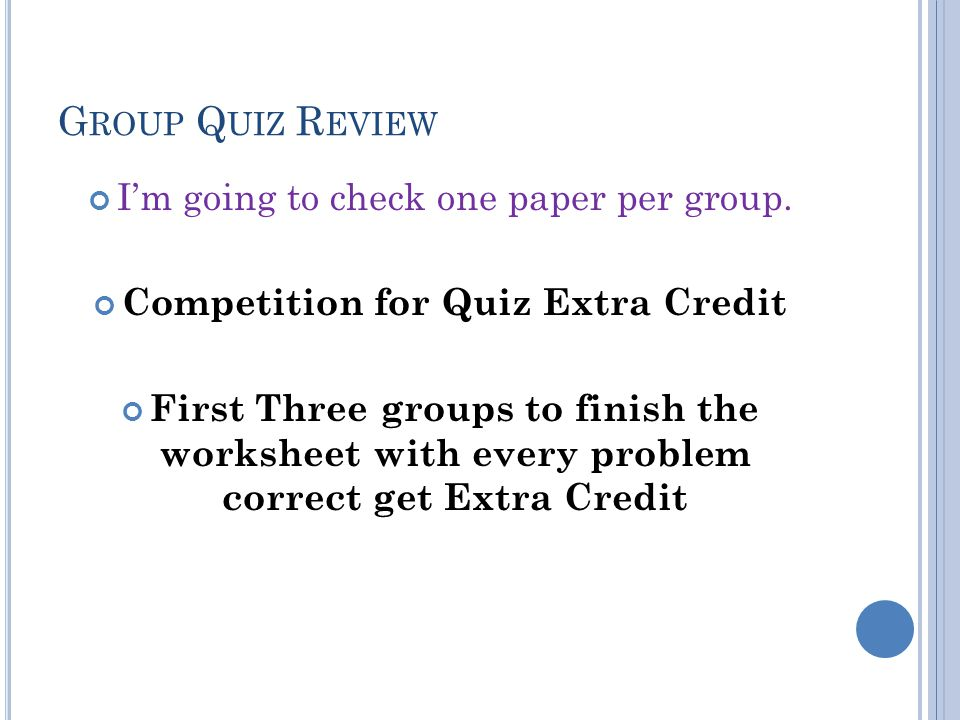 Competition for Quiz Extra Credit