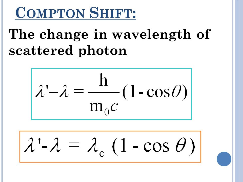 Compton Shift: The change in wavelength of scattered photon