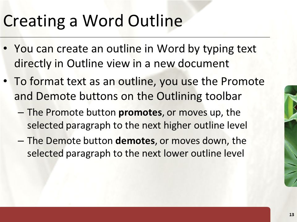 Creating a Word Outline