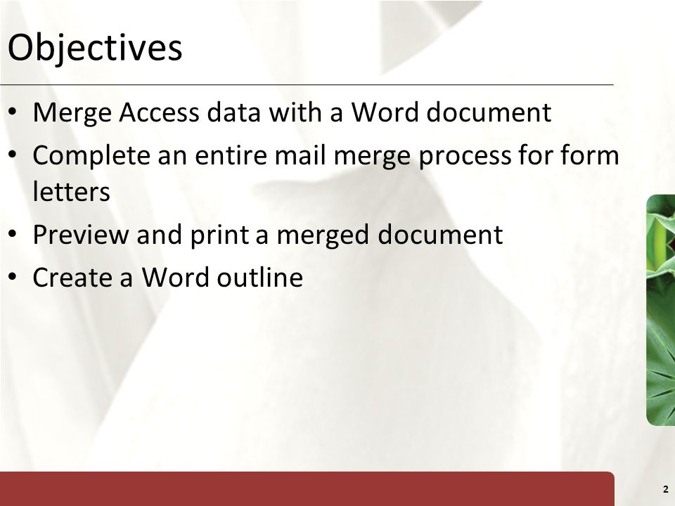 Objectives Merge Access data with a Word document