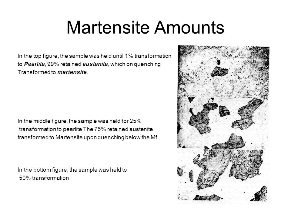 Martensite Amounts In the top figure, the sample was held until 1% transformation. to Pearlite, 99% retained austenite, which on quenching.