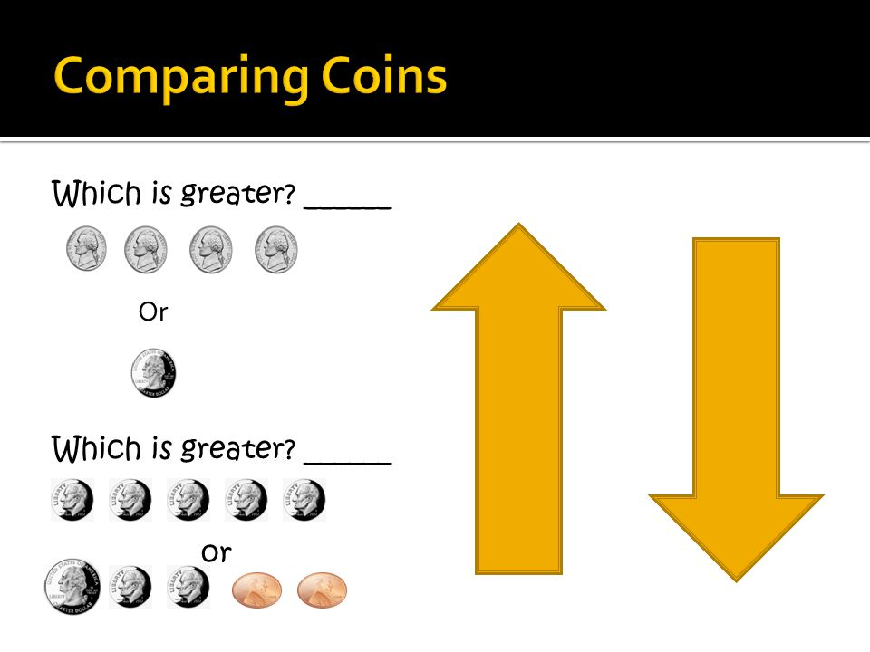 Comparing Coins Which is greater ______ Or or