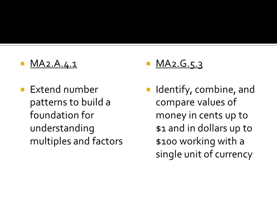 MA2.A.4.1 Extend number patterns to build a foundation for understanding multiples and factors. MA2.G.5.3.
