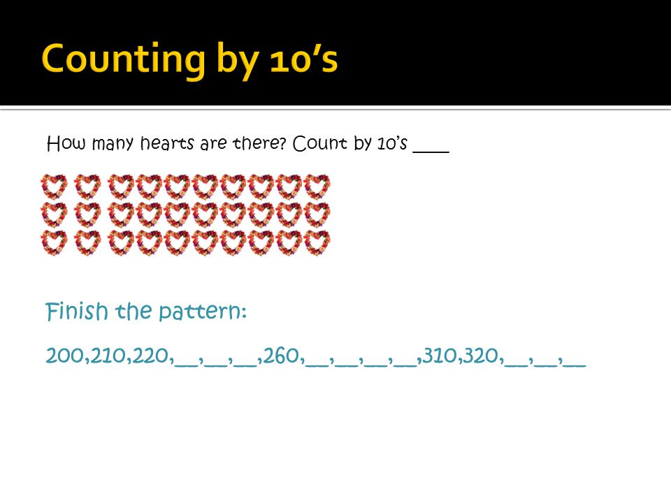 Counting by 10's Finish the pattern: