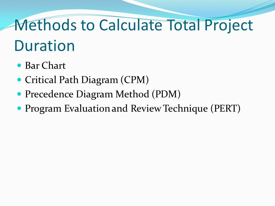Methods to Calculate Total Project Duration