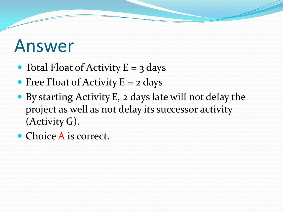Answer Total Float of Activity E = 3 days