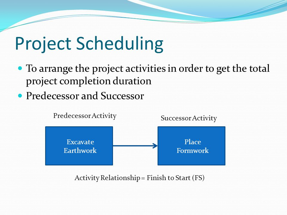 Project Scheduling To arrange the project activities in order to get the total project completion duration.