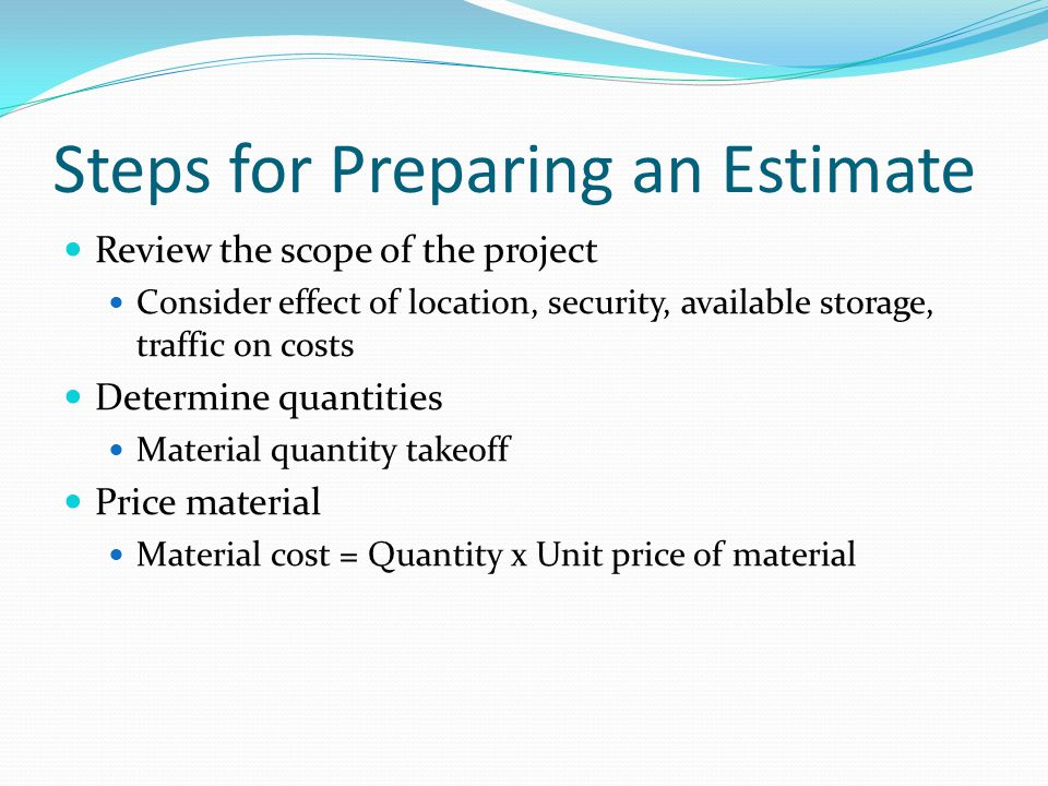 Steps for Preparing an Estimate