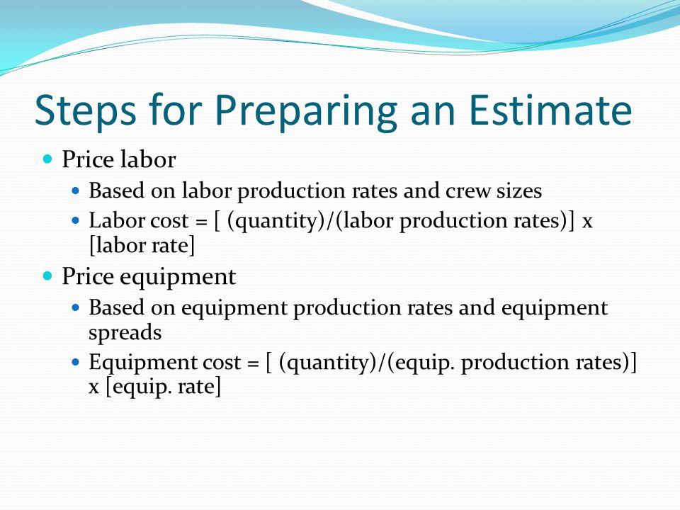 Steps for Preparing an Estimate