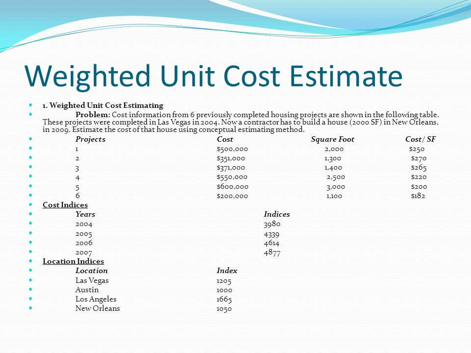 Weighted Unit Cost Estimate