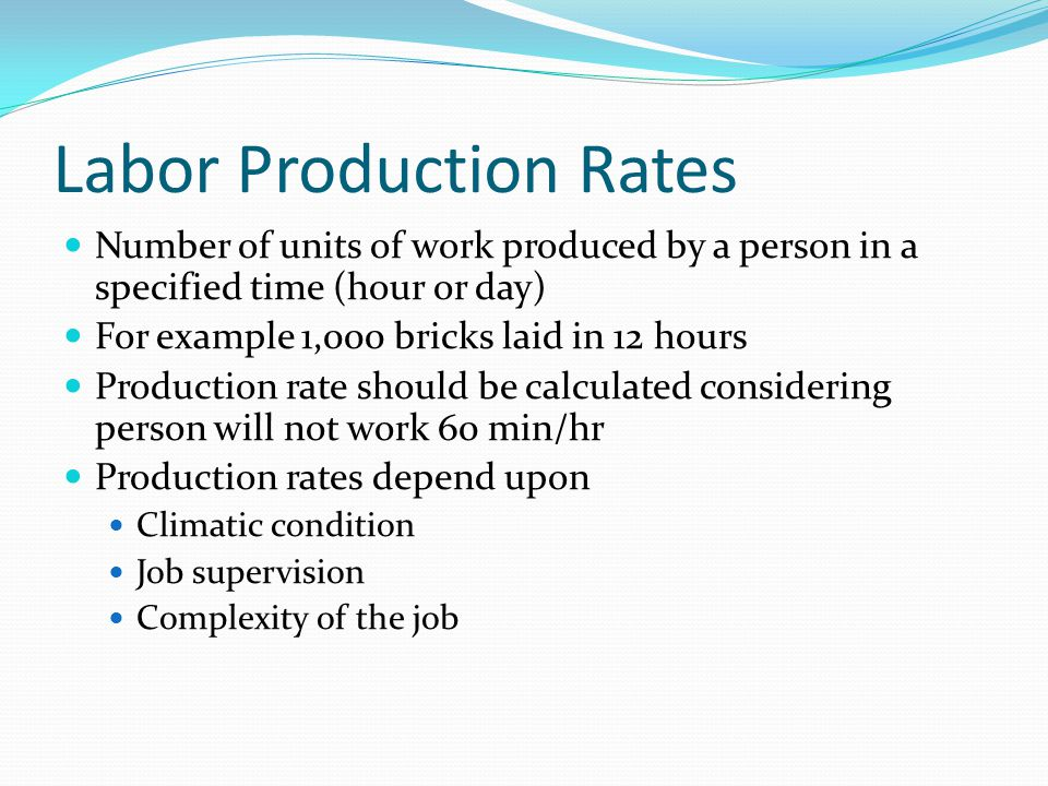 Labor Production Rates