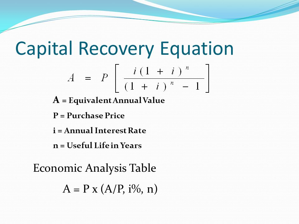 Capital Recovery Equation