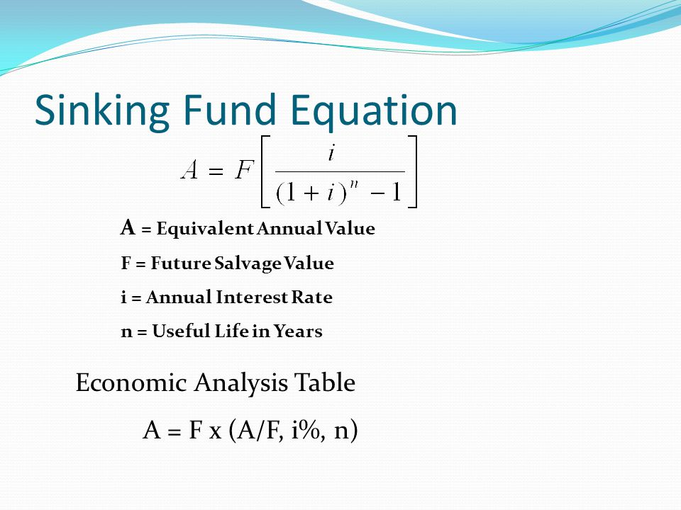 Sinking Fund Equation Economic Analysis Table A = F x (A/F, i%, n)