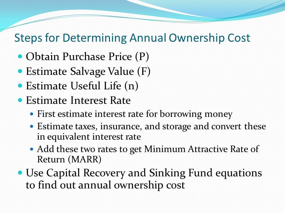 Steps for Determining Annual Ownership Cost
