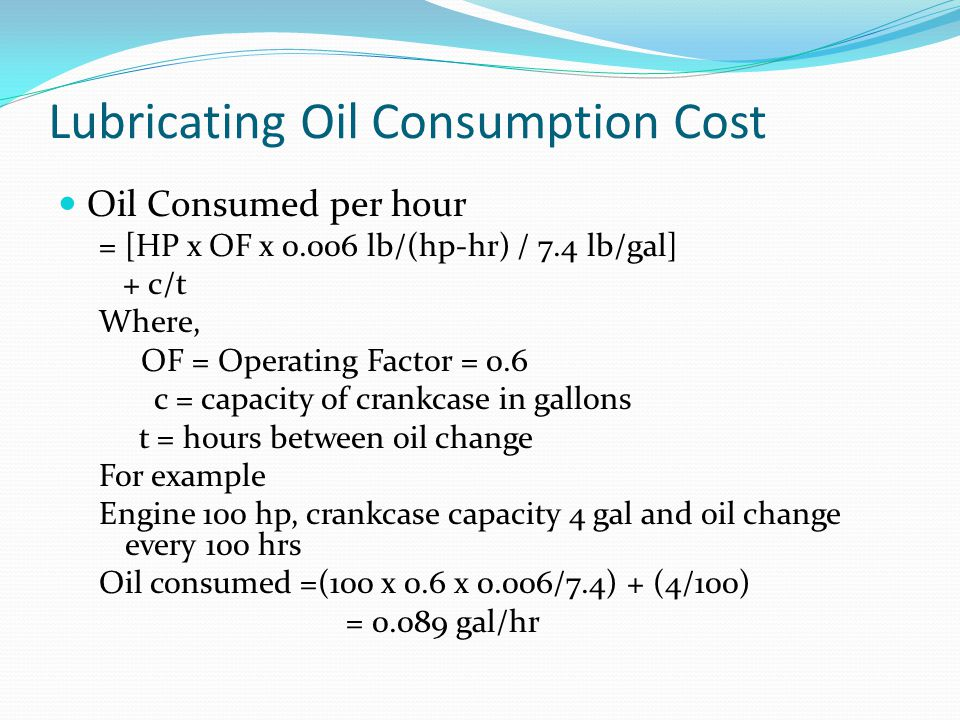 Lubricating Oil Consumption Cost