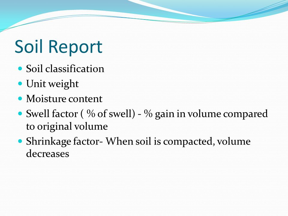 Soil Report Soil classification Unit weight Moisture content